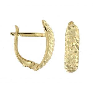 עגילי ציפוי זהב תלויים - ליטל מנצנץ גדול