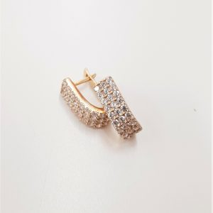 עגילי ציפוי זהב תלויים - 3 שורות זרקונים
