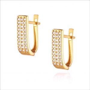 עגילי ציפוי זהב תלויים - 3 שורות זרקונים גדול