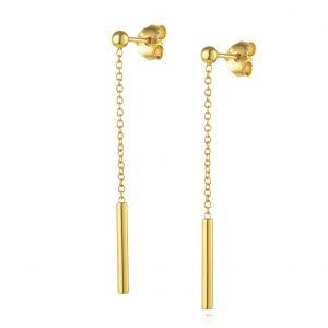 עגילי ציפוי זהב תלויים - תלי שרשרת + גליל