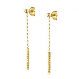 עגילי ציפוי זהב תלויים - תלי שרשרת + גליל מנצנץ