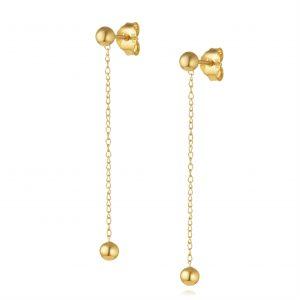 עגילי ציפוי זהב תלויים - תלי שרשרת + כדור