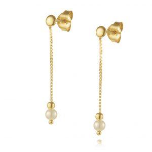עגילי ציפוי זהב תלויים - תלי שרשרת + פנינה