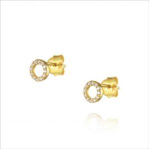 עגילי ציפוי זהב צמודים - מעגל החיים קטן