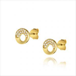 עגילי ציפוי זהב צמודים - עיגול חצי משובץ