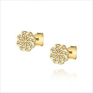עגילי ציפוי זהב צמודים - פרח דריה