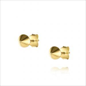 עגילי ציפוי זהב צמודים - קונוס