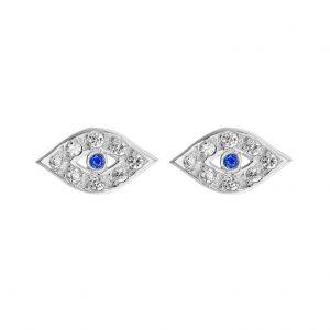 עגילי כסף צמודים - עין כחולה