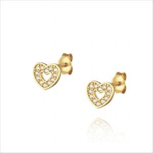 עגילי ציפוי זהב צמודים - לב חלול משובץ עבה