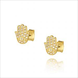 עגילי ציפוי זהב צמודים - חמסה משובצת