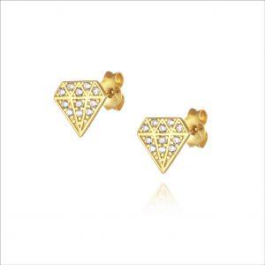 עגילי ציפוי זהב צמודים - יהלום משובץ