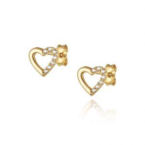 עגילי ציפוי זהב צמודים - לב חלול חצי משובץ