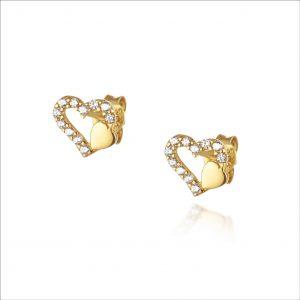 עגילי ציפוי זהב צמודים - שני לבבות