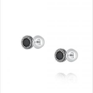 עגילי כסף צמודים - זרקון שחור רשת