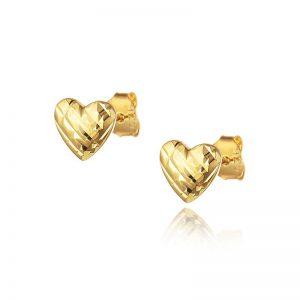 עגילי ציפוי זהב צמודים - לב מנצנץ