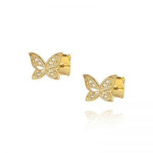 עגילי ציפוי זהב צמודים - פרפר אביגיל