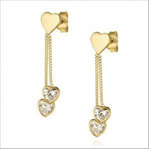 עגילי ציפוי זהב צמודים - שני לבבות מתנדנדים