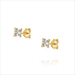 """עגילי ציפוי זהב צמודים - זרקון מרובע 4 מ""""מ"""
