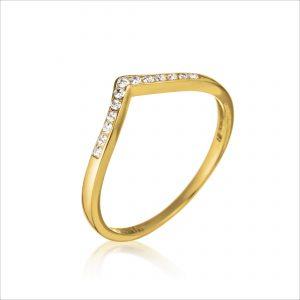 טבעת זהב - וי משובץ