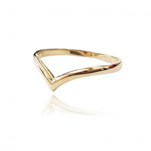 טבעת זהב - וי חלק