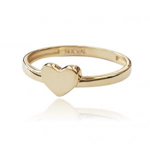טבעת זהב - לב חלק