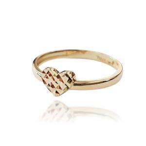 טבעת זהב - לב מנצנץ