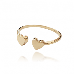 טבעת זהב - פתוח לבבות חלק