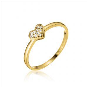 טבעת ציפוי זהב - לב קטן