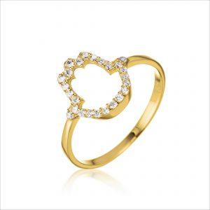 טבעת ציפוי זהב - חמסה