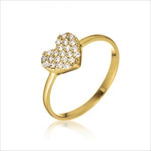 טבעת ציפוי זהב - לב גדול