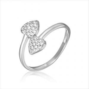 טבעת כסף - זוג לבבות