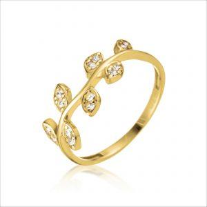 טבעת ציפוי זהב - עלים