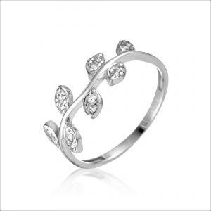 טבעת כסף - עלים