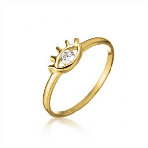 טבעת ציפוי זהב - עין