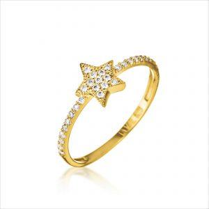 טבעת ציפוי זהב - כוכב