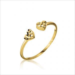 טבעת ציפוי זהב - פתוח לבבות