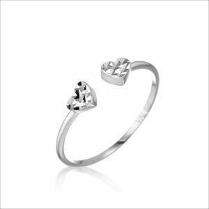טבעת כסף - פתוח לבבות