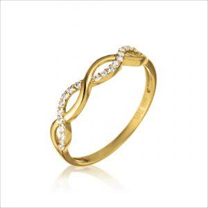 טבעת ציפוי זהב - צמה