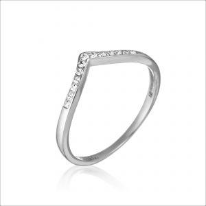 טבעת כסף - וי משובץ