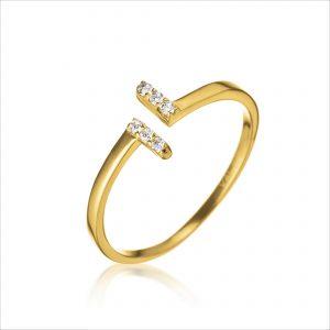 טבעת ציפוי זהב - פתוח פסים